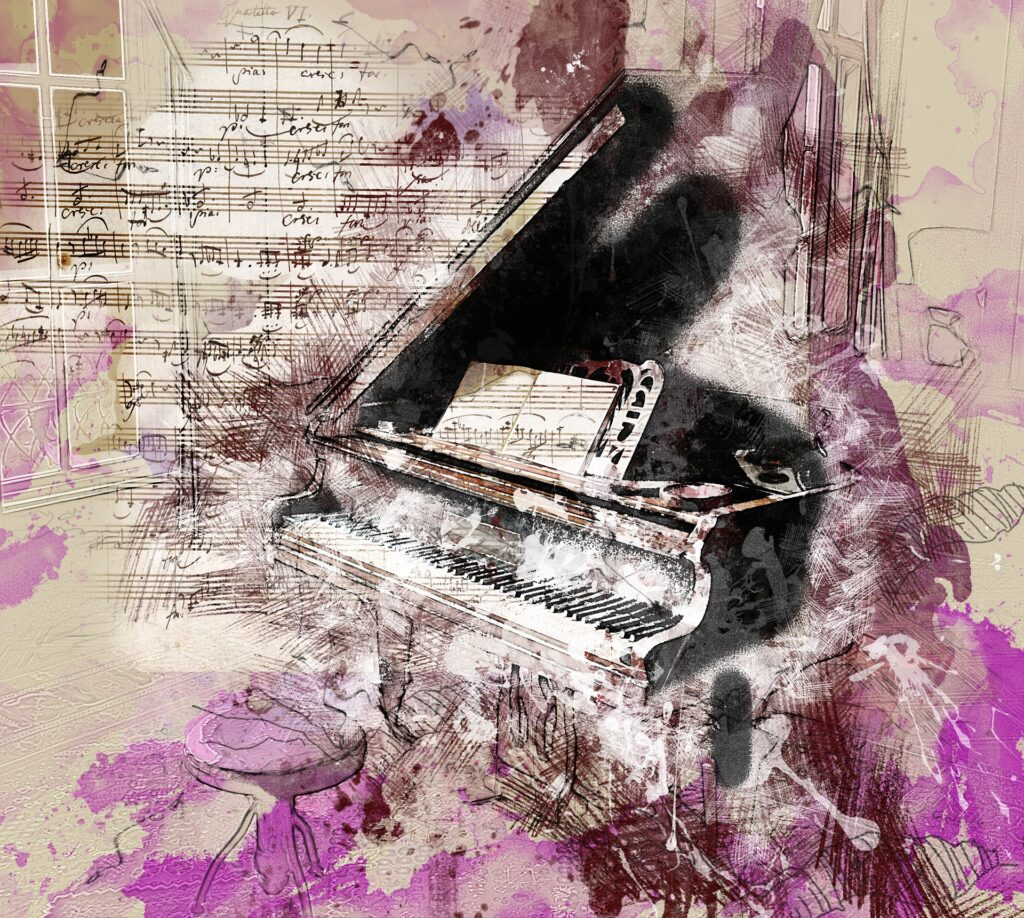 piano with overlays of sheet music and purple clouds