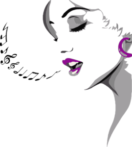 woman with music notes coming from her mouth