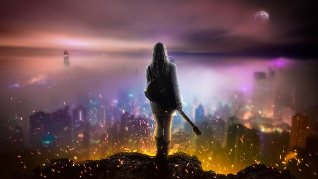 girl standing with guitar in front of sparlking magical cityscape