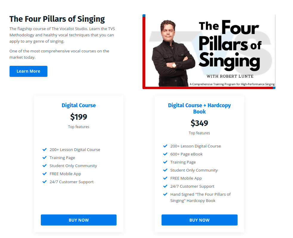 the four pillars of singing - pricing